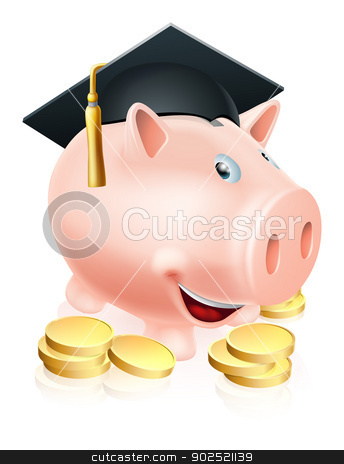 Graduation Piggy bank stock vector clipart, Cartoon education piggy bank with mortar board graduation hat on and gold coins. Concept for saving money for an education or schooling or college finances etc.  by Christos Georghiou
