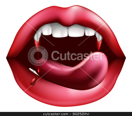 Vampire licking blood from sharp teeth stock vector clipart, Drawing of a vampire mouth close up. Licking blood from dripping from sharp teeth with her tongue by Christos Georghiou