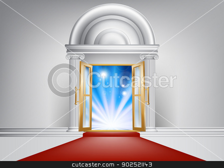 VIP door stock vector clipart, A door with a red carpet leading up to it and bright abstract blue light on the other side by Christos Georghiou
