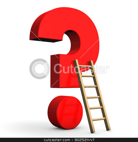 Question Mark Ladder stock photo, Red question mark with ladder on the white background. by Alexander Limbach