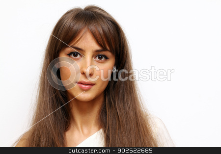 Closeup portrait of a happy young woman  stock photo, Closeup portrait of a happy young woman  by andersonrise