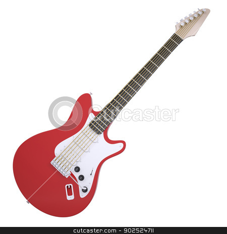 Red electric guitar stock photo, Red electric guitar. Isolated render on a white background by cherezoff