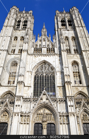 St. Michael and St. Gudula Cathedral in Brussels stock photo, Looking up at the impressive St. Michael and St. Gudula Cathedral in Brussels, Belgium. by Chris Dorney
