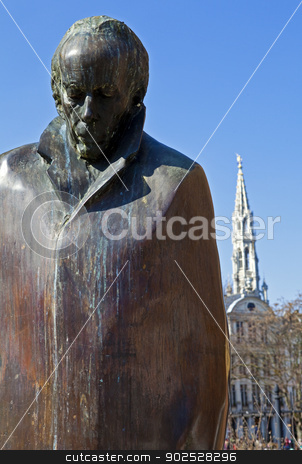 Bela Bartok Statue in Brussels stock photo, A statue of Hungarian composer and pianist Bela Bartok located in the centre of Brussels, Belgium. by Chris Dorney