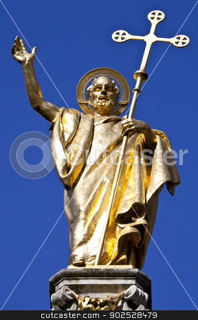 Saint Paul Statue at St. Pauls Cathedral in London stock photo, The beautiful Saint Paul statue situated outside Saint Paul's Cathedral in London. by Chris Dorney