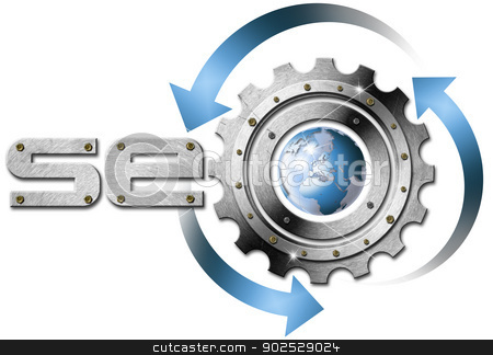 SEO Metal Gear stock photo, Illustration with metal written SEO, metal gear and blue globe by catalby