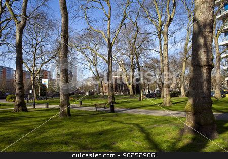 Paddington Green and Church of St. Mary in London stock photo, Beautiful view of Paddington Green looking towards the Church of St. Mary in London. by Chris Dorney