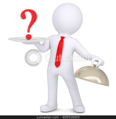 3d man holding a question mark on the dish stock photo, 3d man holding a question mark on the dish. Isolated render on a white background by cherezoff