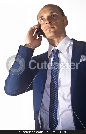 businessman talking on the phone stock photo, elegant businessman wearing suit talking on the phone by Gandolfo Cannatella