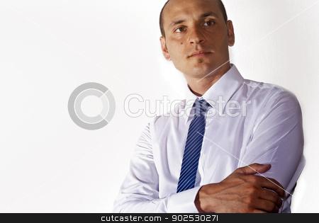 elegant businessman  stock photo, elegant businessman wearing suit looking up at camera isolated on white by Gandolfo Cannatella