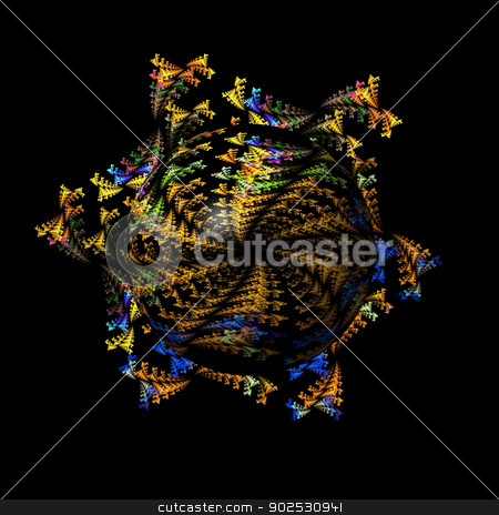 Abstract Fractal Globe stock photo, Colorful abstract fractal is building a beautiful globe or sphere. by Henrik Lehnerer