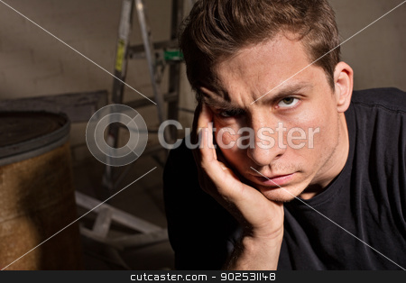 Mad Adult Man stock photo, Mad European man with hand on face by Scott Griessel