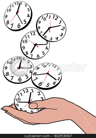 Busy person hand save time clocks stock vector clipart, Busy person saving hours of time as clocks fall in hand by Michael Brown