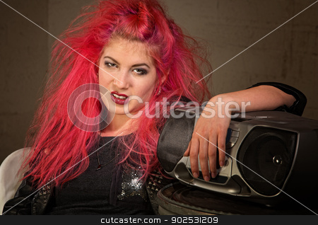 Moody Teen with Pink Hair stock photo, Moody teenage European female with pink hair and radio by Scott Griessel