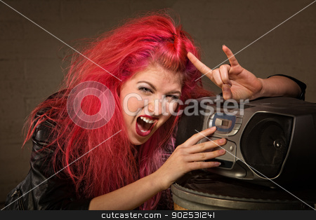 Excited Teen with Radio stock photo, Excited teenager with pink hair and radio making hand gesture by Scott Griessel