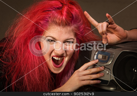 Yelling Teenage Girl stock photo, Yelling young woman with pink hair and radio by Scott Griessel