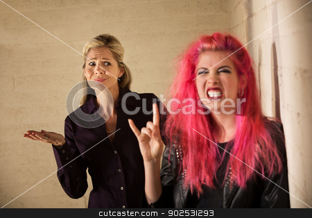 Skeptical Parent with Child stock photo, Obnoxious Caucasian teenage girl with annoyed mother by Scott Griessel