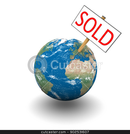 Sold planet stock photo, Sold sign on planet Earth isolated on white background. Elements of this image furnished by NASA. by Harvepino