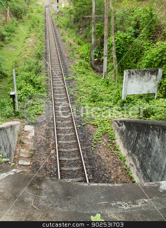 railway tunnel in Thailand stock photo, Old railway in the western line of Thailand by narathorn