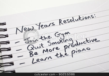 New Year's Resolutions stock photo, New Year's Resolutions written on a note pad. by Chris Dorney