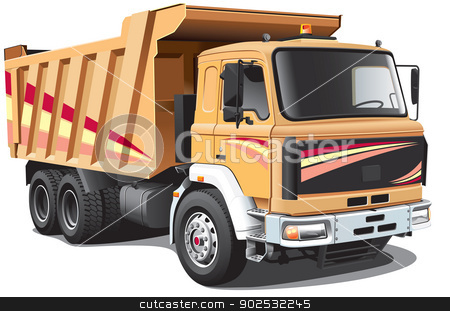 Dump Truck stock vector clipart, Detailed image of light-brown dump truck, isolated on white background. File contains gradients. No blends and strokes. by busja