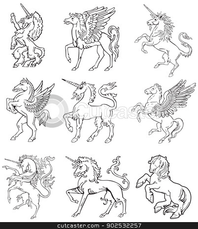 Heraldic monsters vol IX stock vector clipart, Vectorial pictograms of most heraldic monsters - unicorn and pegasus, executed in style of gravure on wood. No dlends, gradients and strokes. by busja