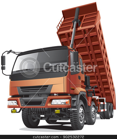 large dumper in action stock vector clipart, Detailed vector image of large eight-wheel dump truck with overturned body, isolated on white background. File contains gradients and transparency (headlights). No blends and strokes. by busja
