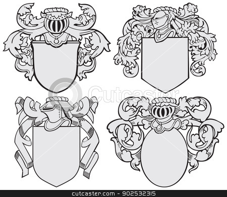 set of aristocratic emblems No5 stock vector clipart, Vector image of four medieval coats of arms, executed in woodcut style, isolated on white background. No blends, gradients and strokes. by busja