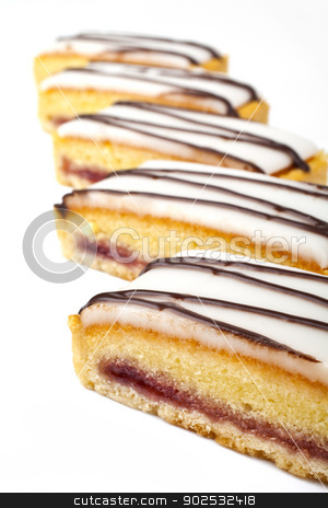 Cherry Bakewell Slices stock photo, Cherry Bakewell Slices over a white background. by Chris Dorney