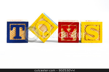 TOYS stock photo, The word TOYS spelt out using letter blocks. by Chris Dorney