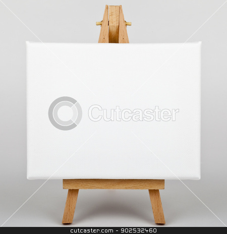 Canvas on Easel stock photo, A white canvas on an easel. by Chris Dorney