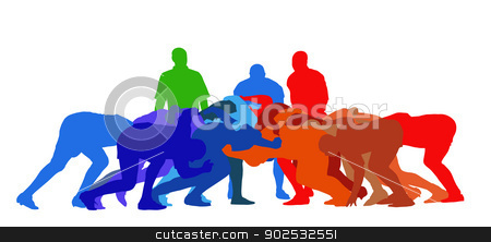 Rugby Scrum Isolation stock vector clipart, Best Color Sport Silhouette Isolation – Rugby Full Scrum by Snap2Art