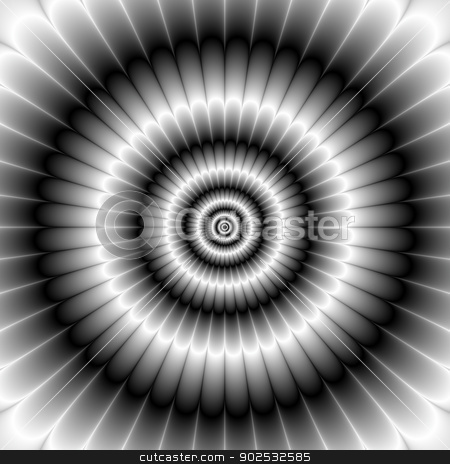 Circles in Black and White stock photo, Digital abstract fractal image with a circular petal design in black and white. by Colin Forrest