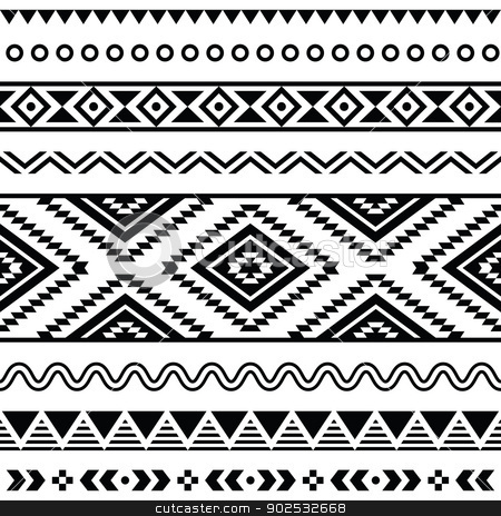 Tribal seamless pattern, aztec black and white background stock vector clipart, Vector seamless aztec ornament, ethnic pattern  by Agnieszka Murphy