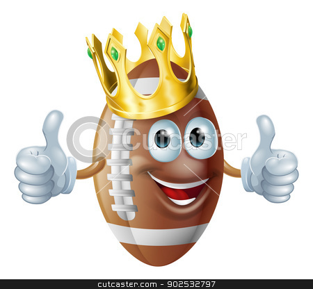 Cartoon football king mascot stock vector clipart, An illustration of a cartoon American football king mascot man wearing a gold crown. by Christos Georghiou