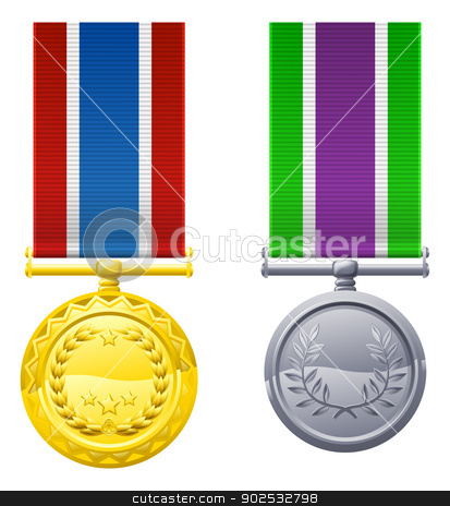 Hanging medals and ribbons stock vector clipart, An illustration of two hanging metal medals and ribbons by Christos Georghiou