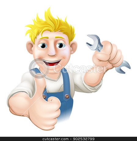 Cartoon mechanic or plumber with wrench stock vector clipart, Cartoon mechanic or plumber holding a wrench or spanner and doing a thumbs up gesture by Christos Georghiou