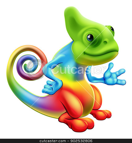 Cartoon rainbow chameleon stock vector clipart, Illustration of a cartoon rainbow chameleon mascot standing with his hand out by Christos Georghiou