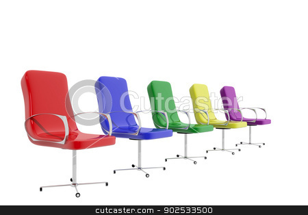 Colorful chairs stock photo, Group of five colorful chairs on white background by genialbaron