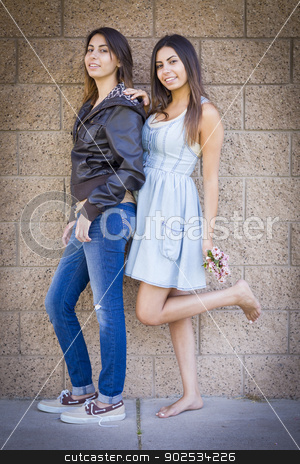 Two Mixed Race Twin Sisters Portrait stock photo, Two Beautiful Mixed Race Twin Sisters Portrait Outdoors. by Andy Dean