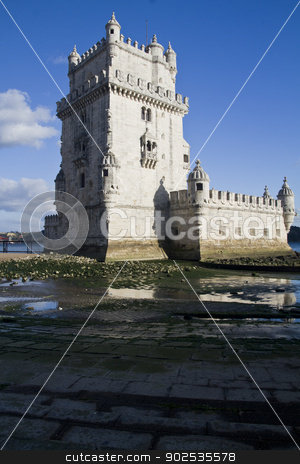 Tower of Belem stock photo, View of the beautiful monument Tower of Belem, located on Lisbon, Portugal. by Mauro Rodrigues