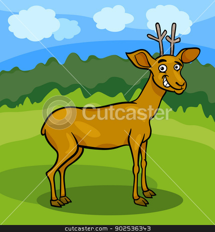 wild deer cartoon illustration stock vector clipart, Cartoon Illustration of Funny Wild Deer Animal on the Glade by Igor Zakowski