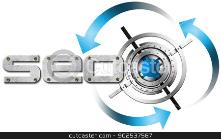 SEO Metal Target stock photo, Illustration with metal written SEO, metal target and blue arrows by catalby