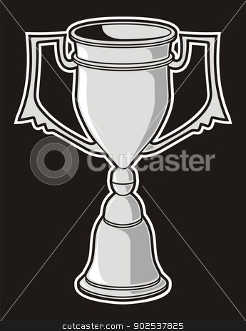 Cup award stock vector clipart, Grayscale cup award isolated on black background. by fractal.gr