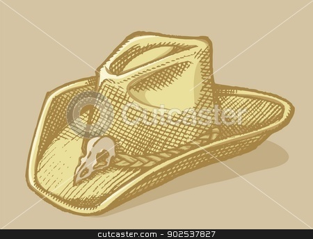 Stetson hat sketch stock vector clipart, Stetson hat sketch with bird scull on beige background. by fractal.gr