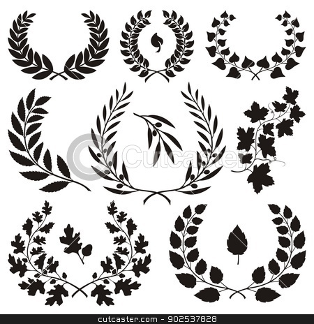 Wreath icons stock vector clipart, Various wreath icons isolated on white background. by fractal.gr