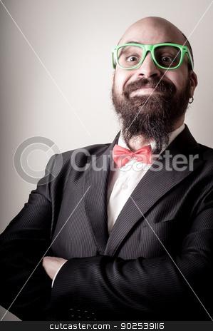 funny elegant bearded man stock photo,  funny elegant bearded man on vignetting background by Eugenio Marongiu