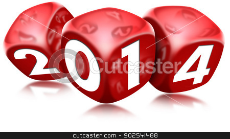 Dice 2014 Happy New Year stock photo, Three red dice with the written 2014 and reflections by catalby