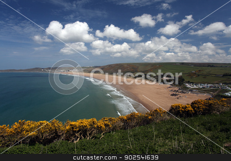Woolacombe  North  Devon coast stock photo, Sunset Woolacombe Beach in North Devon South West England United kingdom by Ollie Taylor