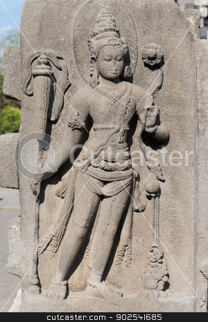 Female deity on relief carving in buddhist temple, Indonesia stock photo, Avalokitesvara female deity relief in Candi Lumbung buddhist temple, Prambanan complex, Indonesia, Java, Yogyakarta  by Iryna Rasko